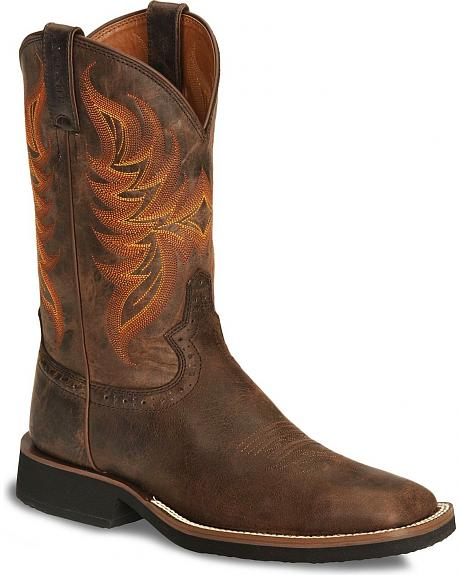 Justin Fancy Stitched Stampede Tekno Crepe Cowboy Boots - Square Toe