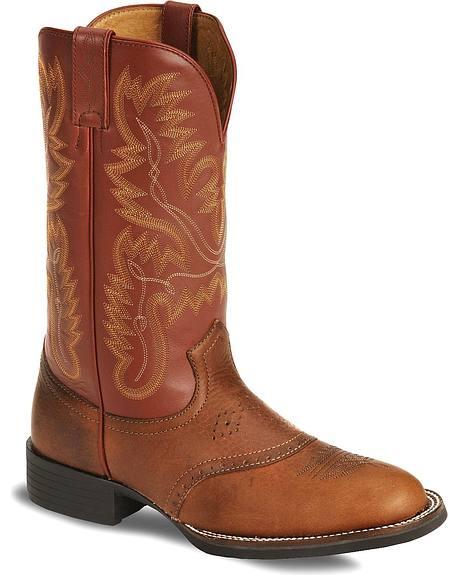 Justin Chestnut Rage Cowboy Boots - Round Toe