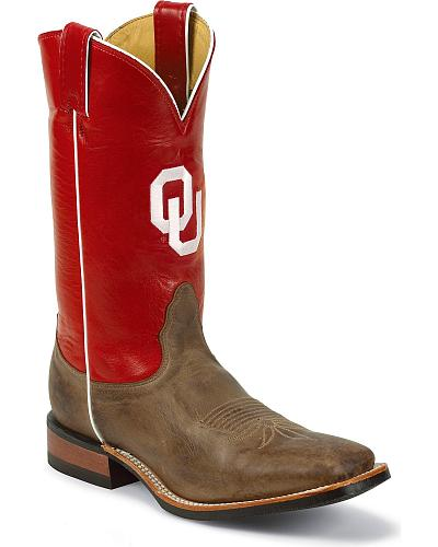 Nocona Mens University of Oklahoma College Cowboy Boots Square Toe Western & Country MDOU20