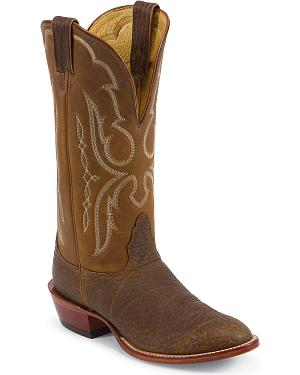 Nocona Bull Shoulder Western Cowboy Boots - Wide Round Toe