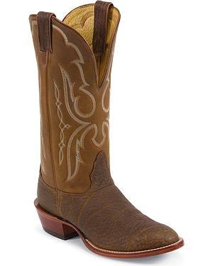Nocona Bull Shoulder Western Cowboy Boots - Wide Round Toe