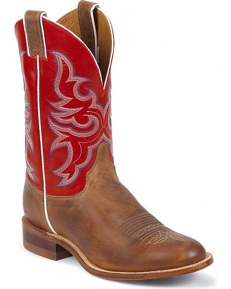 Justin Bent Rail Single Stitched Welt Cowboy Boots - Round Toe