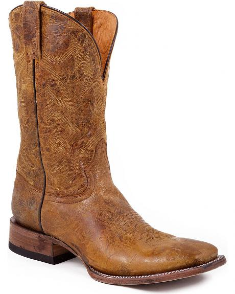 Stetson Crackled & Distressed Vamp Cowboy Boots - Square Toe
