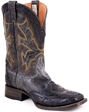 Stetson Hand Tooled Wingtip Cowboy Boots - Square Toe