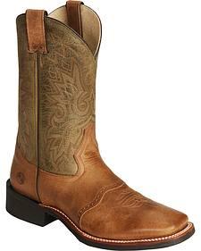 Double H Cognac Roper Cowboy Boots - Wide Square Toe