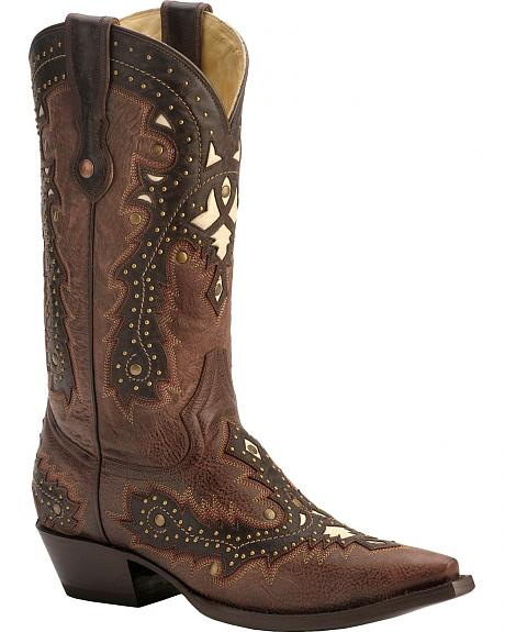 Corral Studded Overlay Cowboy Boots - Snip Toe