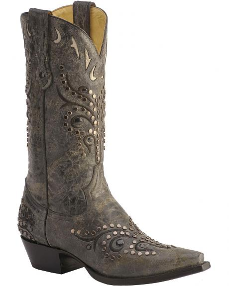 Corral Studded Overlay Cowboy Boots - Pointed Toe