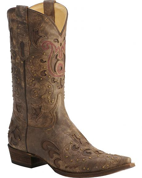 Corral Plato Cowhide Inlay Studded Cowboy Boots - Snip Toe