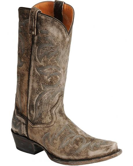 Dan Post Distressed Softee Stitched Cowboy Boots - Snip Toe