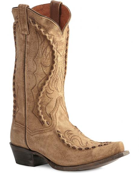 Dan Post Distressed Softee Bucklace Cowboy Boots - Snip Toe