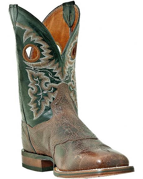 Dan Post Saddle Vamp Buckaroo Boots - Square Toe