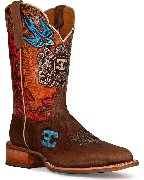 Cinch Edge Blue Bird Cowboy Boots - Square Toe