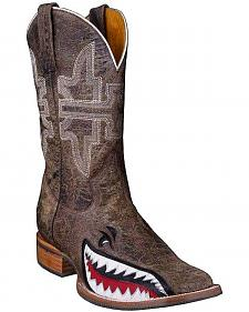 Tin Haul Gnarly Shark Cowboy Boots - Square Toe