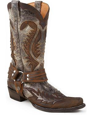 Stetson Crackle Harness Cowboy Boots - Snip Toe