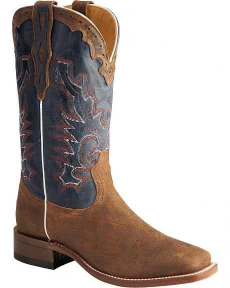 Boulet Stockman Blue Shaft Cowboy Boots - Square Toe
