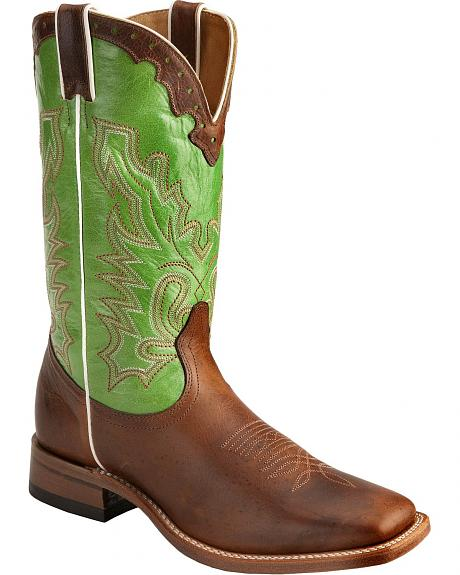 Boulet Lime Green Stitched Shaft Stockman Boots - Square Toe