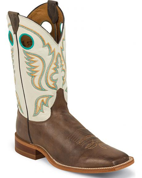 Justin Burnished Ivory Cowboy Boots - Square Toe