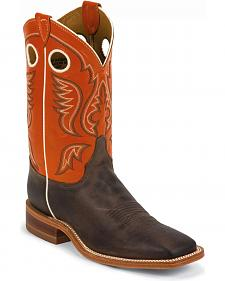 Justin Burnished Orange Cowboy Boots - Square Toe