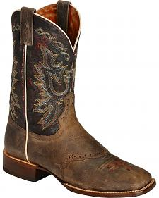 Red Ranch Distressed with Saddle Vamp Cowboy Boots - Square Toe