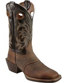 Justin Men's Punchy Stampede Black Cowboy Boots - Square Toe