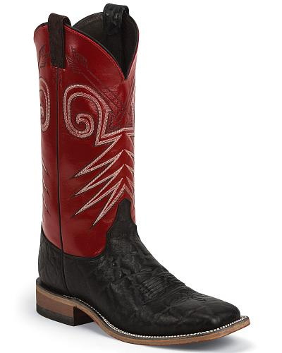 Justin Bent Rail Cowboy Boots Wide Square Toe Western & Country BR319