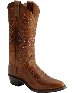Justin Traditional Leather Western Cowboy Boots - Medium Toe