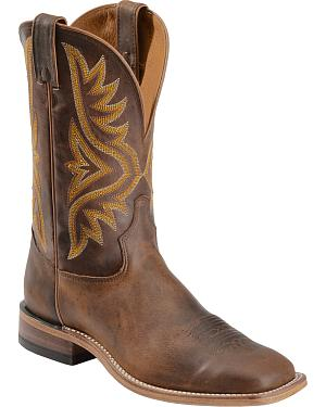 Tony Lama Tan Worn Goat Leather Americana Cowboy Boots - Square Toe
