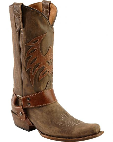 Roper Eagle Overlay Distressed Cowboy Boots - Snip Toe
