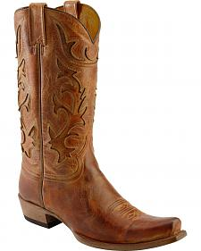 Stetson Crackle Inlay Cowboy Boots - Snip Toe
