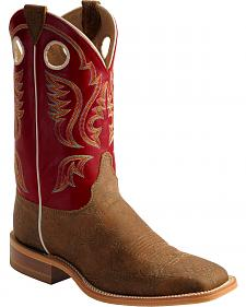 Justin Bent Rail Red Cowboy Boots - Square Toe