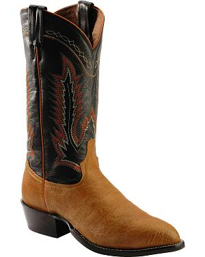 Tony Lama Pecan Taurus Shoulder Cowboy Boots - Round Toe