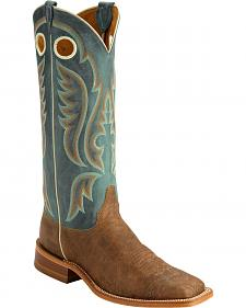 Justin Bent Rail Old Map American Cowboy Boots - Square Toe