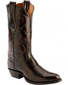 Tony Lama Signature Series Black Cherry Brushed Goat Cowboy Boots - Round Toe