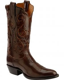 Tony Lama Signature Series Brown Brushed Goat Cowboy Boots - Round Toe