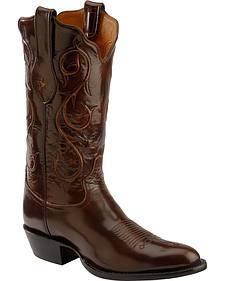 Tony Lama Signature Series Brown Brushed Goat Cowboy Boots - Round Toe