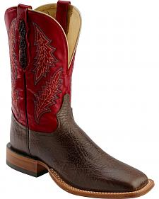 Tony Lama San Saba Red Stitched Cowboy Boots - Square Toe