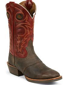 Justin Silver Saddle Vamp Cowboy Boots - Square Toe