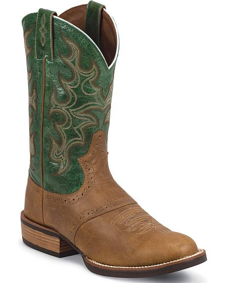 Justin Silver Cattleman Saddle Vamp Cowboy Boots - Round Toe