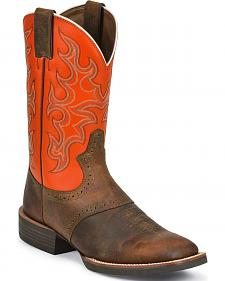 Justin Silver Orange Cattleman Saddle Vamp Cowboy Boots - Wide Square Toe