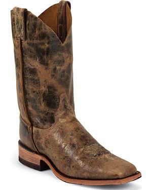 Justin Bent Rail Cowboy Boots - Wide Square Toe