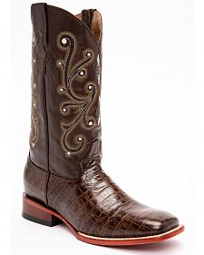 Ferrini Chocolate Alligator Belly Print Cowboy Boots - Square Toe