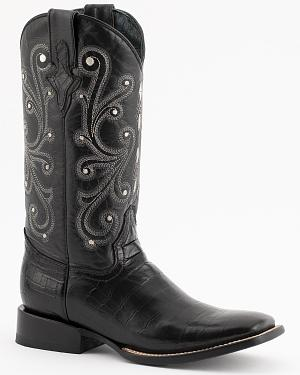 Ferrini Belly Caiman Alligator Print Cowboy Boots - Square Toe