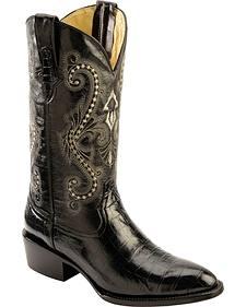 Ferrini Black Alligator Belly Print Cowboy Boots - Round Toe
