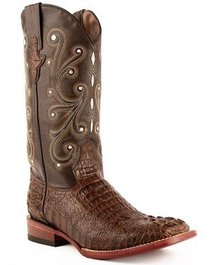 Ferrini Caiman Croc Print Cowboy Boots - Wide Square Toe