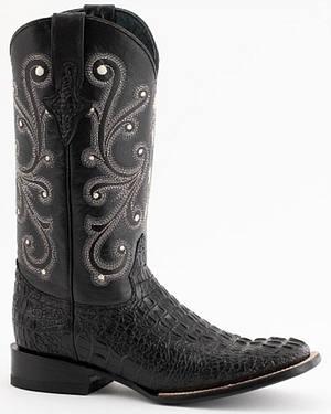 Ferrini Black Caiman Croc Print Cowboy Boots - Wide Square Toe