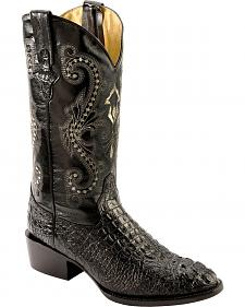 Ferrini Caiman Croc Print Cowboy Boots - Round Toe