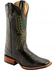 Ferrini Green Embroidered Cowboy Boots - Wide Square Toe
