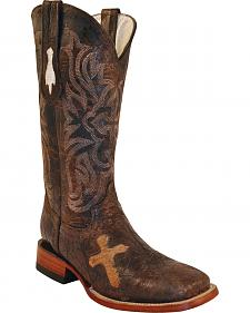 Ferrini Cross Inlay Brown Cowboy Boots - Wide Square Toe