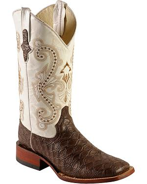 Ferrini Chocolate Anteater Print Cowboy Boots - Wide Square Toe