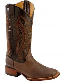 Ferrini Chocolate Distressed Kangaroo Cowboy Boots - Wide Square Toe